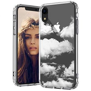 MOSNOVO iPhone XR Case, Cloud Pattern Printed Clear Design Transparent Plastic Back Case with TPU Bumper Protective Case Cover for iPhone XR